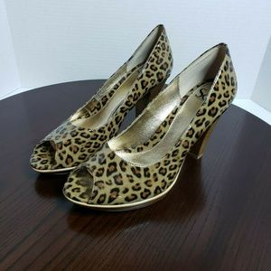 Sofft Patent Leather Animal Print Peep Toe Heel 8N